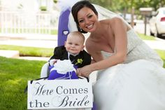 Here Comes the Bride and/or Just Married Wedding Sign.  8 X 16 inches, Flower Girl, Ring Bearer, Sign Bearer, Reception Sign.