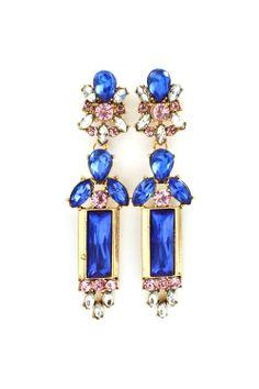 #electric blue vintage earrings