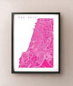Tel Aviv Map Art Print  Israel Poster by CartoCreative on Etsy, $20.00