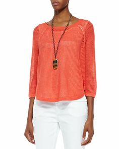 3/4-Sleeve+Sweater+Box+Top+by+Eileen+Fisher+at+Neiman+Marcus.