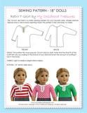 "18"" doll clothes sewing pattern - FREE Retro doll T-shirt pattern (D1308)"