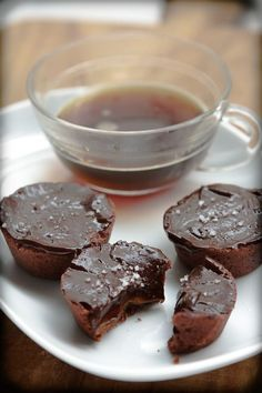Chocolate caramel tartlets with Fleur de sel by David Leibovitz. Now these shouldn't really be in a food for thought board...there's no second guessing how amazing these will be!