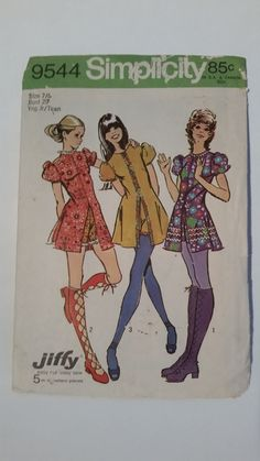 Vintage 1971 Simplicity 9544 sewing pattern young
