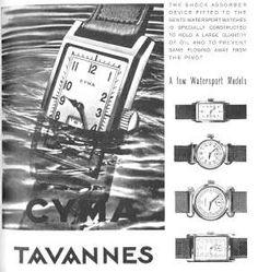 """'30s era Cyma/Tavannes """"waterproof"""" watch advertisement"""