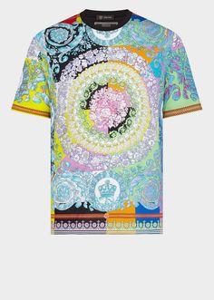 Versace Men's Technicolor Baroque Print T-Shirt for Men Versace On The Floor, Versace Men, En Stock, Fashion Lookbook, Men's Fashion, Wow Products, Men's Collection, Printed Shirts, Print Patterns