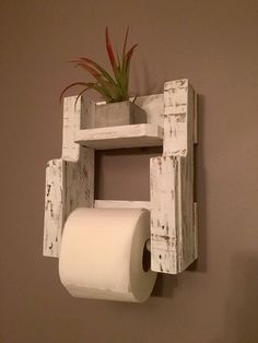 Wooden Toilet Paper Holder in Distressed White, Rustic Bathroom Decor, Reclaimed Wood Toilet Paper Holder, Wall Mounted Toilet Paper Holder by HomeandPalletNH on Etsy Farmhouse Toilet Paper Holders, Wooden Toilet Paper Holder, Rustic Toilets, Pallet Ideas Easy, Rustic Bathroom Decor, Farmhouse Decor, Wall Mounted Toilet, Amazing Bathrooms, Chic Bathrooms