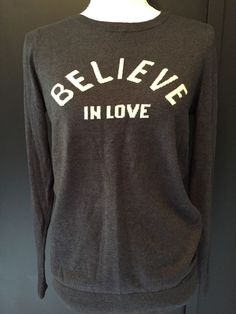 OLD NAVY Small Womens Gray White 'Believe In Love' Long Sleeve Sweater #OldNavy #Crewneck