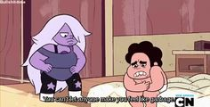 "1/3. Amethyst quote. Gif. Steven Universe. ""You can't let anyone make you feel like garbage."" -Amethyst. ""Is that how you feel?""- Steven, ""I only feel how I wanna feel."" -Amethyst."