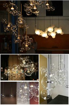This metal glass pendant light is suitable for bedroom and living room. Blown Glass Pendant Light, Globe Pendant Light, Led Pendant Lights, Modern Pendant Light, Bubble Chandelier, Gold Ceiling Light, Ceiling Lights, Pendant Lighting Bedroom, Dining Room