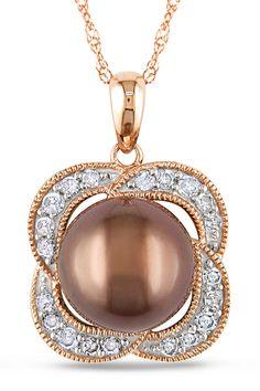 Tahitian Pearl 9-9.5mm Tahitian Pearl & 0.25Ct Pendant In 14k Pink Gold