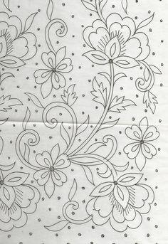 hand embroidery designs for neck Bordado Jacobean, Jacobean Embroidery, Floral Embroidery Patterns, Tambour Embroidery, Hand Embroidery Patterns, Cross Stitch Embroidery, Indian Embroidery Designs, Beginner Embroidery, Embroidery Tattoo
