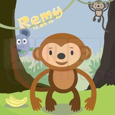 Monkeys are just adorable! This cute jungle themed print will make a great addition to a nursery or childrens room. Create your own printable today!  Our artwork will make a perfect addition to any home or a great personalised gift for any special occasion. Use the digital file to frame, create a shadow box or print on merchandise. The possibilities are endless and use the image as many times as you like.  The above design includes personalising with baby/childs name and DOB. You also ha...
