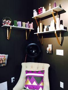 Mandy Morgan at Salon Lofts Clayton beautifully displays her retail. Love the colors! #salonlofts #salonloftstlouis #stlouissalon #mandymorgan #retail #organization
