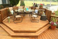 Southern Yellow Pine Octagon Shaped Deck: Time for a dinner party.