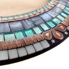 Oval Mosaic Mirror Aqua, Copper, and Gray // Mixed Media Mosaic Mirror // Wall Art Mirror Wall Art, Mirror Mosaic, Mosaic Diy, Glass Mosaic Tiles, Mosaic Wall, Stained Glass Birds, Stained Glass Panels, Copper And Grey, Mosaic Birdbath