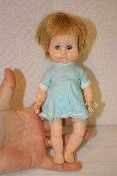 """Vintage Effanbee sleepy eye baby doll in blue dress 8"""". $15 Blue eyes, blonde hair"""