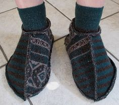 repurpose old felted sweater into slippers!!
