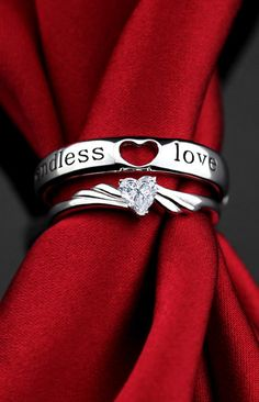 Matching Engraved Sterling Silver Promise Rings for Couples, Open Heart + Heart-Cut CZ Diamond, Adjustable Set @ iDream Jewelry!