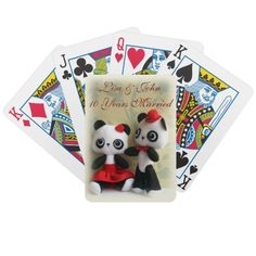 Cute Panda Bears Couple Anniversary Playing Cards by SimonaMereuArt $22.20  #anniversary #wedding #cute #panda #bear #teddy #arescrea