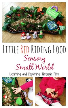 Little Red Riding Hood Small World, Fairy Tale Sensory Play, Imaginative Play… Eyfs Activities, Sensory Activities Toddlers, Sensory Play, Motor Activities, Nursery Activities, Play Based Learning, Learning Through Play, Diy Sensory Board, Traditional Tales