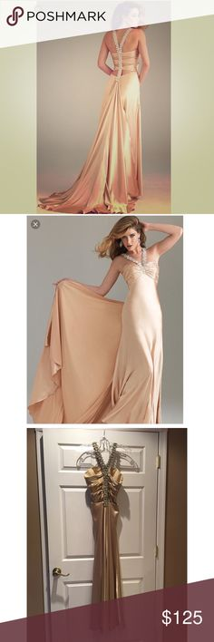 Night Moves gold prom dress Gorgeous, sleek gold prom dress by Night Moves. Worn once.  Very little blemishes. Some minor alterations to length. This dress comes with a detachable gold train. Night Moves Dresses Prom