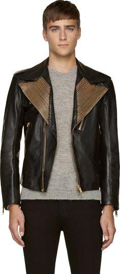 Alexander McQueen Embraces Black, Gold & Zippers for Fall 2014 Fashion Styles image Alexander McQueen Black Leather Gold Zipper Lapel Biker Jacket