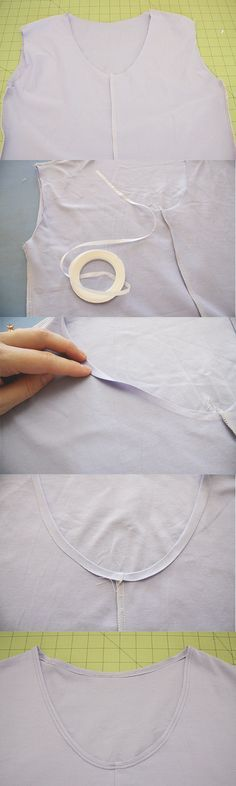 using a fusible hemming tape. This is one of my favourite tricks! You simply fuse the tape between the folds of fabric using your iron, and it makes the whole neckline more stable, neater and wayyyy easy to sew.