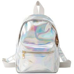 Charlotte Russe Holographic Mini Backpack (40.640 COP) ❤ liked on Polyvore featuring bags, backpacks, multi, miniature backpack, strap bag, holographic bags, mini rucksack and mini zip bags