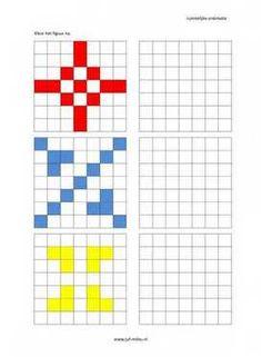 Dit werkblad en nog veel meer in de categorie ruimtelijke orientatie - nakleuren kun je downloaden op de website van Juf Milou. Symmetry Worksheets, Kindergarten Math Worksheets, Worksheets For Kids, Preschool Activities, Maths, Free Printable Puzzles, Preschool Printables, Coding For Kids, Math For Kids