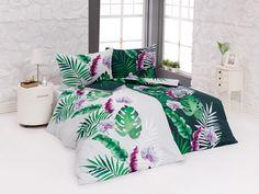 Povlečení TROPIC, šedozelené listy, bavlna hladká digitál (více rozměrů) | TextilCentrum.cz Bed, Home, Comforters