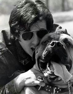 Sylvester Stallone & his dog Butkus before he became famous