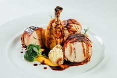 Chicken with broccoli, cauliflower and carrot puree