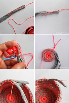 DIY Fabric Coil Bowl DIY Fabric Coil Bowl - good for old knit clothing scraps History of Knitting String spinning, weaving and sewing careers. Rope Crafts, Diy And Crafts, Decor Crafts, Fabric Bowls, Diy Presents, Fabric Scraps, Scrap Fabric, Basket Weaving, Rope Basket