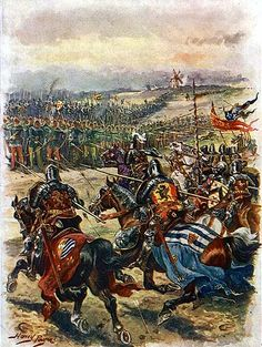 The charge of the French knights at the Battle of Crecy 1346