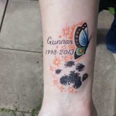 My tattoo I got for my cat, who recently passed away. The paw print is taken from a copy of his actual paw print.