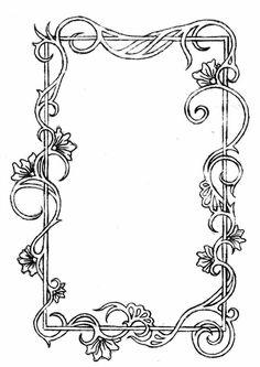 A hand drawn border inspired by Mucha's frames. Computer enhancement to darken pencil tints.