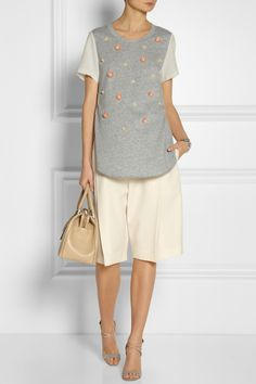 3.1 Phillip Lim|Embellished cotton-jersey and silk T-shirt|Chloe | Woven-wool Bermuda shorts | Reed Krakoff | Patent-leather suede sandals | Jil Sander | J medium leather bowling bag
