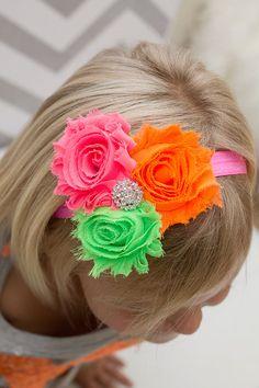 NEON Triple Shabby Flower Headband - Shabby Rose Headband - Neon Pink Green Orange - Rhinestone Detail - Baby Headband  - Child Headband
