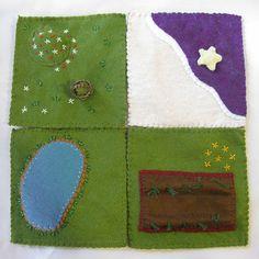Four felt mini playscapes 1: Four felt mini-playscapes 2: pond, garden, strawberry hill, beach by Alkelda, via Flickr