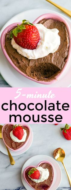 5 Minute Chocolate Mousse for Two. Valentine's Day Dessert for Two is this easy chocolate mousse for two. Best Valentine's Day chocolate dessert ideas. Easy mousse recipe: just melted chocolate chips, heavy cream and 1 egg yolk.