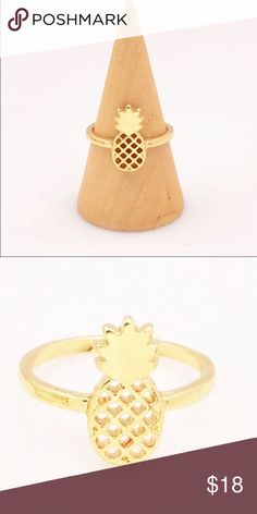Gold pineapple  ring New, never worn. Beautiful gold plated pineapple  ring, size 5. Thank you for visiting my closet, please let me know if you have any questions, I offer great discounts on bundles  lucy6mahon Jewelry Rings