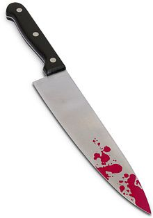 ThinkGeek :: Bloody Evidence Chef's Knife : macabre horror kitchen funny