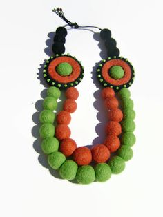 In feltro gioielli di lana rosso verde perline di AhClementina