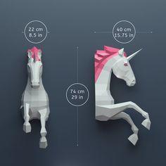 Unicornio Papercraft Papercraft 3D  construir su propia Low