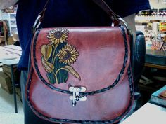 Leather Purse /  Women's / Sunflowers and Sheridan/ Leather Bag / Hand Carved and Tooled / Custom /  Leather Purse