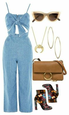 A fashion look from October 2017 featuring cut out jumpsuit, black block heel boots and brown leather shoulder bag. Browse and shop related looks. Chic Outfits, Spring Outfits, Trendy Outfits, Fashion Outfits, Womens Fashion, Look Jean, Mode Chic, Mode Inspiration, Polyvore Outfits