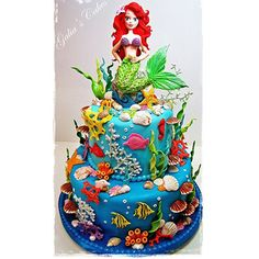 Under the sea-Ariel birthday cake Crazy Cakes, Fancy Cakes, Cute Cakes, Little Mermaid Cakes, Little Mermaid Birthday, Beautiful Cakes, Amazing Cakes, Sirenita Cake, Ariel Cake