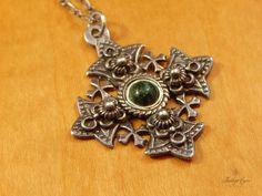 Vintage 900 Silver Eliat Stone Cannetille Jerusalem Crusader Cross Pendant #Pendant