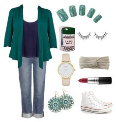 """""""Classily Underdressed"""" by dsarayu on Polyvore featuring Paige Denim, H&M, BillyTheTree, MAC Cosmetics, Nomad, Kate Spade, Converse, Aéropostale and ban.do"""