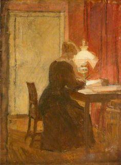 A Lady Reading by Lamplight by Carl Schou